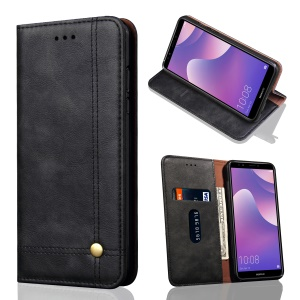 Auto-absorbed Crazy Horse Retro Leather Wallet Stand Case for Huawei Honor 7C / Enjoy 8 / Y7 Prime (2018) / nova 2 lite (Philippines) - Black