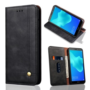 Auto-absorbed Crazy Horse Retro Leather Wallet Stand Case for Huawei Y5 Prime (2018) / Y5 (2018) / Honor 7s / Play 7 - Black