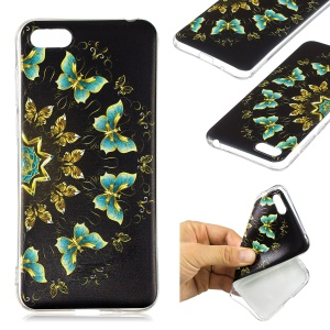 Pattern Printing Soft TPU Gel Casing Cover for Huawei Y5 (2018) / Y5 Prime (2018) / Honor 7s / Play 7 - Gold and Blue Butterflies