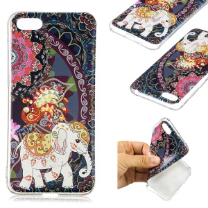 Pattern Printing TPU Soft Cover for Huawei Y5 (2018) / Y5 Prime (2018) / Honor 7s / Play 7 - Flower and Elephant