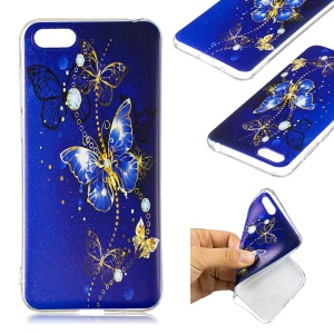 Pattern Printing Ultra-thin TPU Casing for Huawei Y5 (2018) / Y5 Prime (2018) / Honor 7s / Play 7 - Blue Butterfly