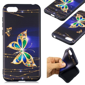 Embossment Patterned TPU Phone Casing for Huawei Y5 (2018) / Y5 Prime (2018) / Honor 7s / Play 7 - Shiny Butterfly