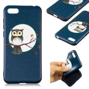 Embossment Patterned TPU Phone Cover for Huawei Y5 (2018) / Y5 Prime (2018) / Honor 7s / Play 7 - Owl on Branch
