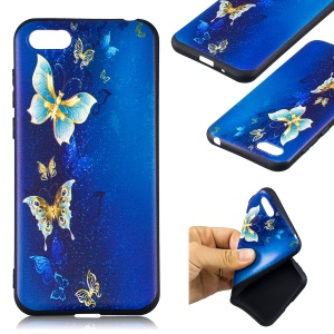Embossment Patterned TPU Phone Case Accessory for Huawei Y5 (2018) / Y5 Prime (2018) / Honor 7s / Play 7 - Blue and Gold Butterfly