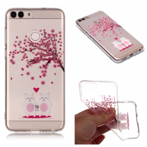 Pattern Printing IMD TPU Case Accessory for Huawei P Smart / Enjoy 7S - Cute Animals and Flower