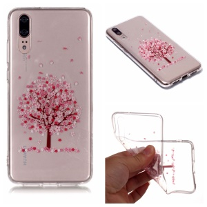 For Huawei P20 Pattern Printing IMD Soft TPU Protector Cover - Pink Flower Tree