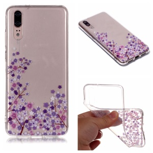 For Huawei P20 Pattern Printing IMD Soft TPU Cellphone Cover - Purple Flower