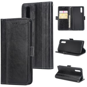 Retro Contrast Color Wallet Stand Leather Case for Huawei P20 - Black