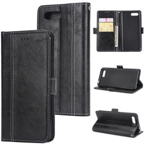 Retro Contrast Color Wallet Stand Leather Case for Huawei Honor 10 - Black