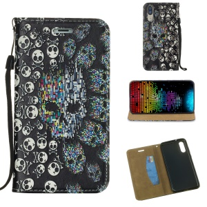 Embossed Pattern Auto-absorbed Card Holder Stand Leather Case for Huawei P20 - Skulls