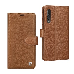 PIERRE CARDIN Litchi Grain Genuine Leather Wallet Stand Case for Huawei P20 - Brown