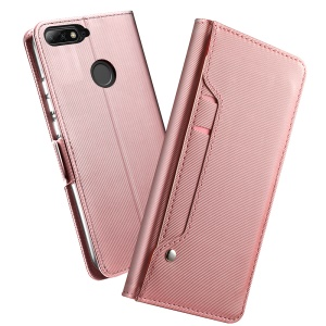 Leather Wallet Stand Cover with Card Holder and Makeup Mirror for Huawei Honor 7C / Enjoy 8 / Y7 Prime (2018) / nova 2 lite (Philippines) - Rose Gold
