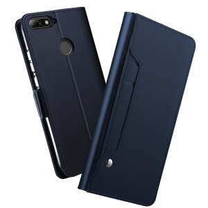 PU Leather Wallet Stand Case with Card Holder and Makeup Mirror for Huawei Honor 7C / Enjoy 8 / Y7 Prime (2018) / nova 2 lite (Philippines) - Dark Blue