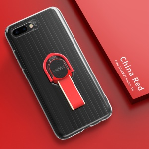 X-LEVEL Finger Ring Kickstand TPU + PC Hybrid Shell Case for Huawei Honor 10 (Built-in Magnetic Metal Sheet) - Red