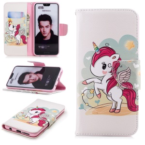 Pattern Printing Magnetic Stand Leather Cover for Huawei Honor 10 - Unicorn