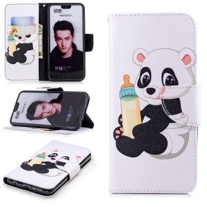Pattern Printing Wallet Stand Leather Mobile Phone Casing for Huawei Honor 10 - Panda Holding a Bottle