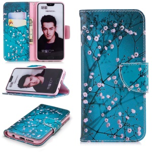 Pattern Printing Leather Wallet Mobile Case with Stand for Huawei Honor 10 - Tree with Flowers