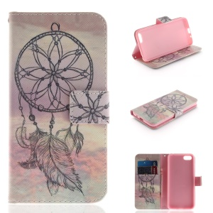 Pattern Printing PU Leather Card Holder Mobile Cover for Huawei Y5 (2018) / Y5 Prime (2018) / Honor 7s / Play 7 - Black Dream Catcher