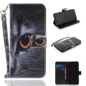 Pattern Printing Stand Magnetic Wallet Leather Protective Cover for Huawei Honor 10 - Eyes