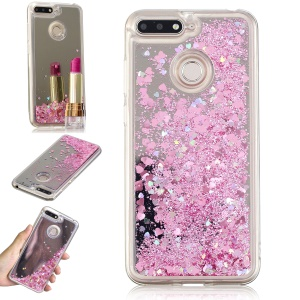 Glitter Floating Quicksand Mirror Surface TPU Case for Huawei Honor 7A (with Fingerprint Sensor)/Honor 7A Pro/Enjoy 8e - Pink
