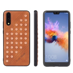 FIERRE SHANN Crazy Horse Texture Rivet PU Leather Coated TPU Cover for Huawei P20 - Brown