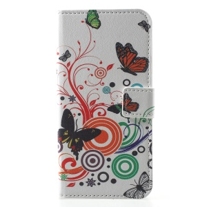 Pattern Printing PU Leather Magnetic Wallet Stand Cell Phone Case for Huawei Honor  Y5 (2018) / Y5 Prime (2018) / Honor 7s / Play 7 - Butterfly and Circles