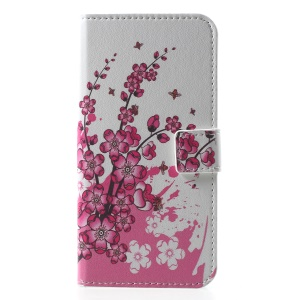 Pattern Printing PU Leather Magnetic Wallet Stand Protective Case for Huawei Honor  Y5 (2018) / Y5 Prime (2018) / Honor 7s / Play 7 - Peach Flower
