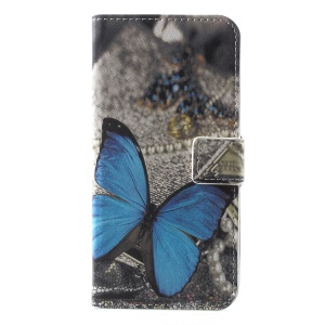 Pattern Printing PU Leather Magnetic Wallet Stand Protective Cover for Huawei Honor  Y5 (2018) / Y5 Prime (2018) / Honor 7s / Play 7 - Blue Butterfly