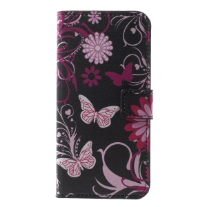 Pattern Printing PU Leather Magnetic Wallet Stand Protective Shell for Huawei Honor  Y5 (2018) / Y5 Prime (2018) / Honor 7s / Play 7 - Butterfly Flower