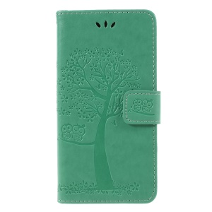 Imprint Tree Owl Wallet Stand Leather Folio Cover for Huawei Y5 (2018) / Y5 Prime (2018) / Honor 7s / Play 7 - Green