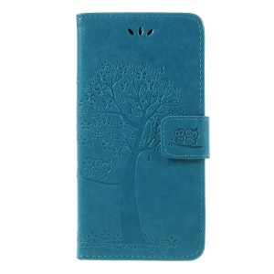 Imprint Tree Owl Wallet Stand Leather Case Accessory for Huawei Y5 (2018) / Y5 Prime (2018) / Honor 7s / Play 7 - Blue