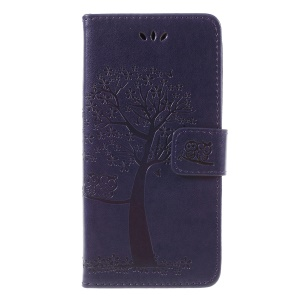 Imprint Tree Owl Wallet Stand Leather Mobile Phone Shell for Huawei Y5 (2018) / Y5 Prime (2018) / Honor 7s / Play 7 - Dark Purple