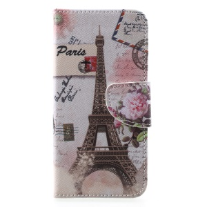 Pattern Printing Cross Texture Leather Wallet Shell Case for Huawei Y5 (2018) - Eiffel Tower