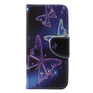Pattern Printing Cross Texture Leather Stand Case with Card Slots for Huawei Y5 (2018) - Vivid Butterflies