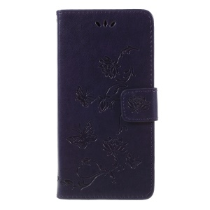 Imprint Butterfly Flower Wallet Leather Case Accessory for Huawei Y5 (2018) / Y5 Prime (2018) / Honor 7s / Play 7 - Dark Purple