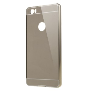 Metal Frame Mirror-like PC Back Phone Case for Huawei Ascend P8 Lite - Gold