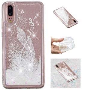 Pattern Printing Dynamic Glitter Powder Sequins TPU Cell Phone Shell for Huawei P20 - White Feather