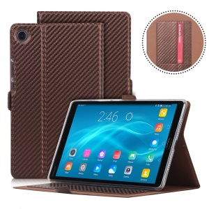 WY-1629 Carbon Fiber Texture Magnetic Leather Protective Shell with Card Holders for Huawei MediaPad M5 8 (8.4-inch) - Brown