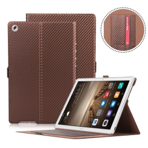 WY-1629-1 Carbon Fiber Texture Magnetic Leather Protective Cover with Card Holders for Huawei MediaPad M5 10 / M5 10 (Pro) - Brown