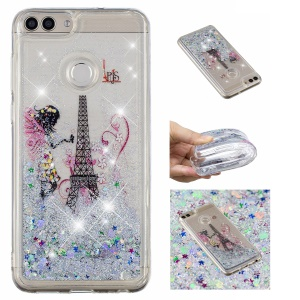 Pattern Printing Dynamic Glitter Powder Sequins TPU Cell Phone Shell for Huawei Y6 (2018) / Honor 7A (with Fingerprint Sensor) / Honor 7A Pro / Enjoy 8e - Eiffel Tower and Butterfly Girl