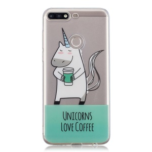 Pattern Printing IMD TPU Cover Shell Case for Huawei Y7 (2018) - Unicorns Love Coffee