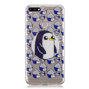 Pattern Printing IMD TPU Shell Cover Case for Huawei Y7 (2018) - Penguin and Ice Cream
