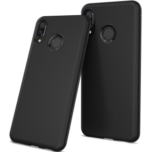 Twill Texture Silicone Back Phone Case for Huawei nova 3 - Black