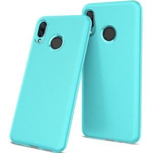 Twill Texture Silicone Cell Phone Case for Huawei nova 3 - Cyan