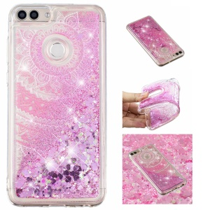 Patterned Dynamic Glitter Powder Sequins TPU Cover for Huawei P Smart/Enjoy 7S/Honor 9 Lite/Youth Edition - Mandala Flower