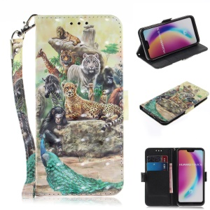 Pattern Printing Wallet Stand Leather Case for Huawei P20 Lite / Nova 3e - Animals Getting Together