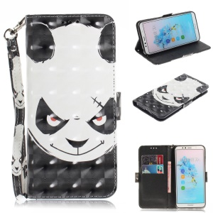 Pattern Printing Leather Wallet Case for Huawei Enjoy 8E / Honor 7A Pro / Honor 7A (with Fingerprint Sensor) - Panda Pattern