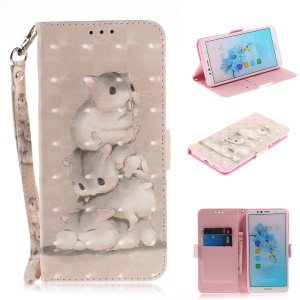Pattern Printing Leather Wallet Shell Case Cover for Huawei Enjoy 8E / Honor 7A Pro / Honor 7A (with Fingerprint Sensor) - Mouse Pattern