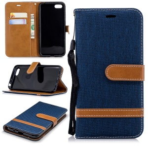 Two-tone Jean Cloth PU Leather Wallet Accessory Case with Stand for Huawei Y5 Prime (2018)/Y5 (2018) - Dark Blue