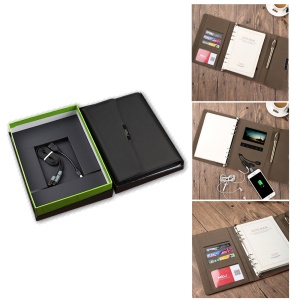Mini Notebook Style 4000mAh Power Bank PU Leather Wallet with Video Function - Black